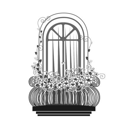 balcony: Balcony with flowers silhouette