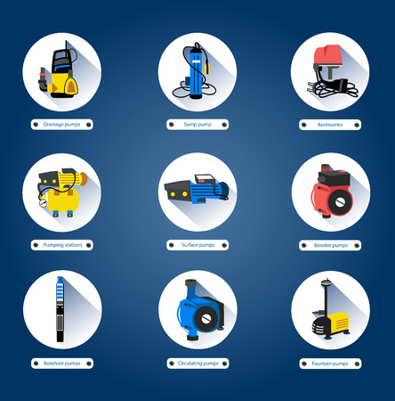 borehole: Flat icons Water pumps