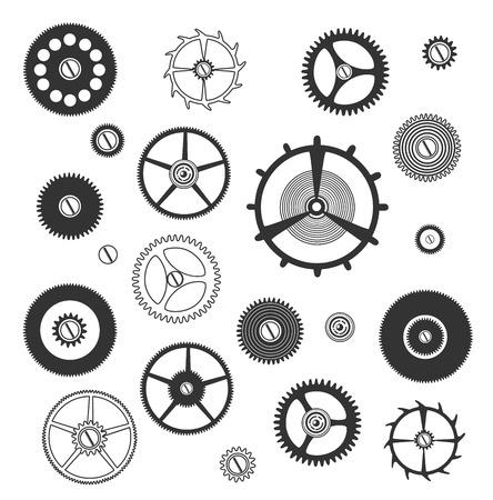 engineered: gears silhouette set Illustration