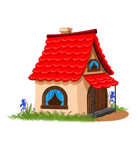 fairytale house with red tiled roof. Stock Photo