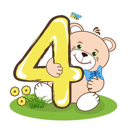 Il numero quattro e orso allegro