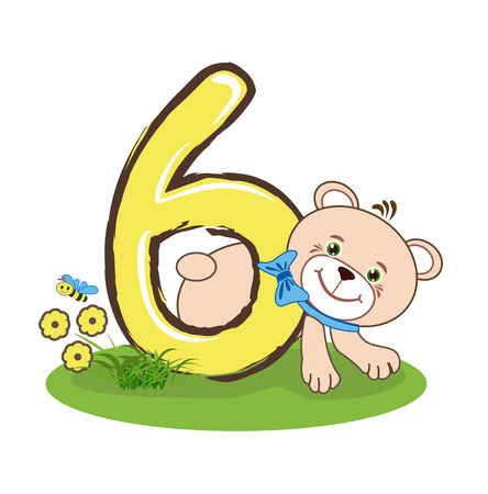 The number six and cheerful bear Stock Illustratie
