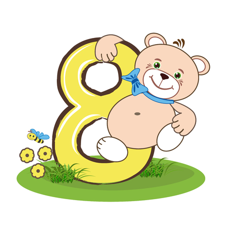 figure of eight: The figure eight and cheerful bear Illustration