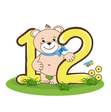 number twelve: The number twelve and cheerful bear Illustration