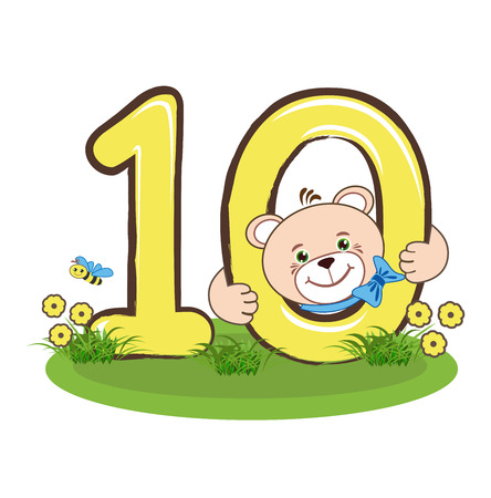number ten: The number ten and cheerful bear