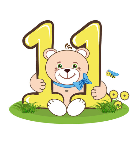 eleven: The number eleven and jolly bear Illustration