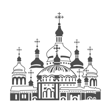 lavra: Orthodox Cathedral Kiev Pechersk Lavra Illustration