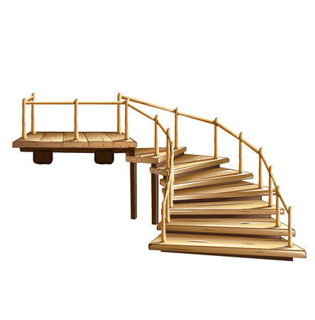 A wooden spiral staircase with a handrail Иллюстрация