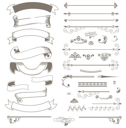 subtitle: Vintage ribbons and design elements set