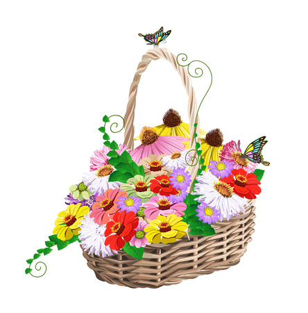 basket of flowers Illustration