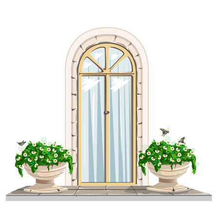 Door and flowerpots vintage Stock Vector - 62792035