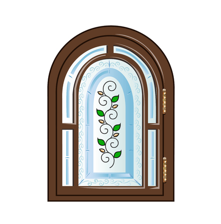glass window: with stained glass window Illustration