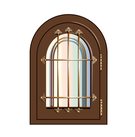gilded: window with gilded beams Illustration