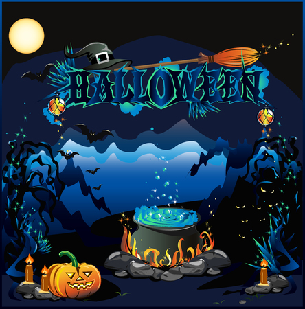 magic potion: Halloween illustration with magic potion