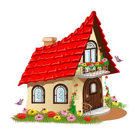 fairytale house with a balcony with flowers Vector Illustration