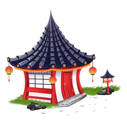 barn wood: Little House on in the Japanese style Illustration