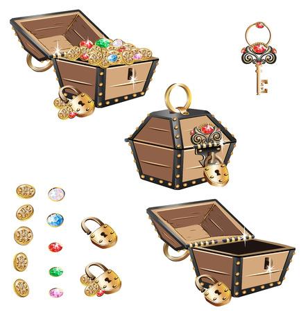 Treasure Chest set. Stock Photo