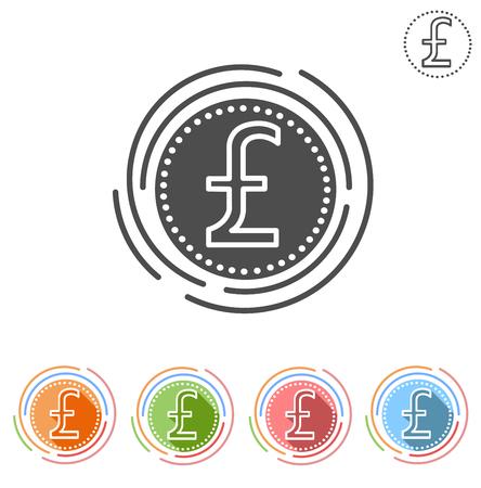 pound sterling: Muestra de la libra esterlina Insulated icono de plano sobre un fondo blanco
