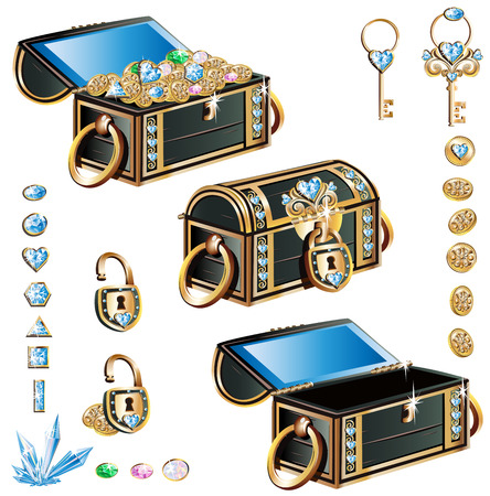 treasure chest with blue decoration