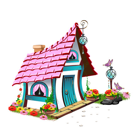 pink roof: fairytale house with pink roof