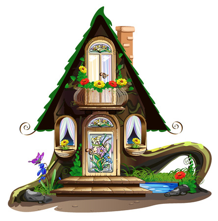 stained glass windows: Fairytale wooden house with stained glass windows