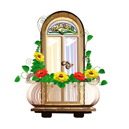 balcony with flowers and stained glass Illustration
