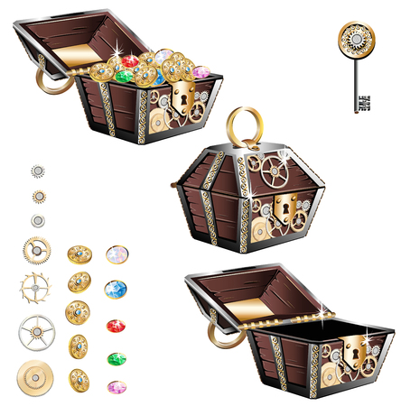 Vintage wooden chest with gold coins