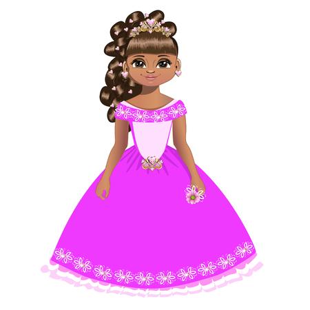 Beautiful princess in a pink dress Illustration