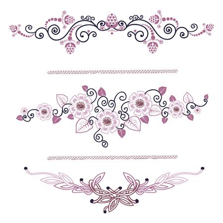 Vintage decoration pages pink Illustration