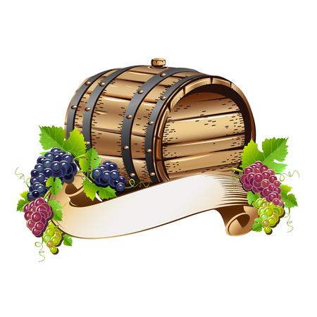 Barile di vino con grappoli d'uva