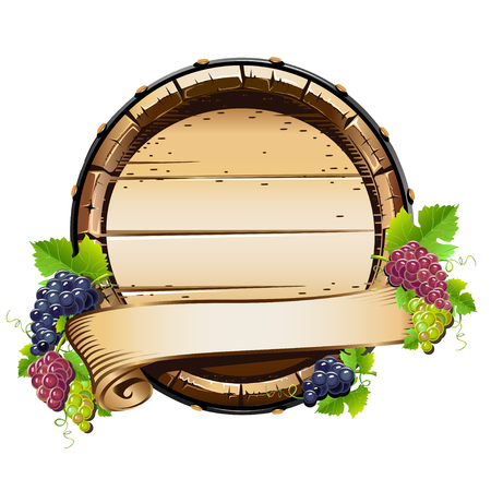 Wine barrel with bunches of grapes