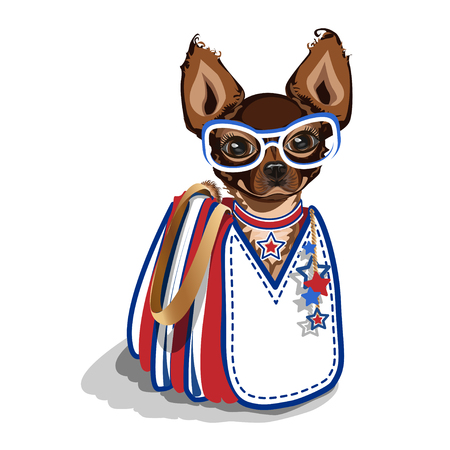Fashionable bag with a small dog. Illustration