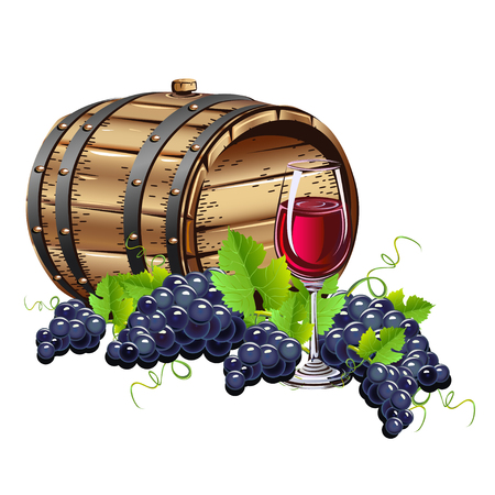 Wine barrel with glass and fresh grapes