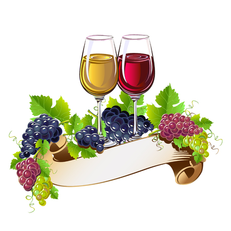 Wine glasses still life Vectores