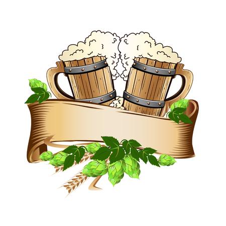 Wooden beer mugs still life Иллюстрация