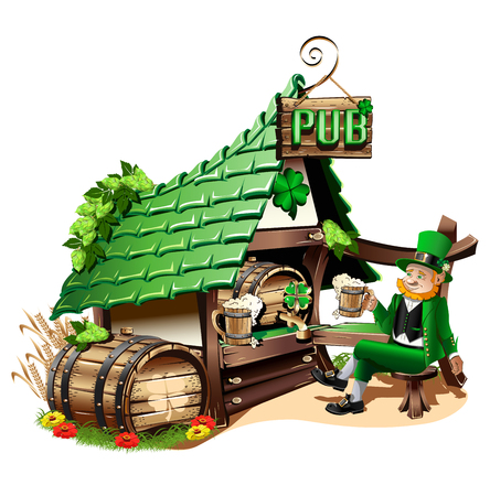 Irish pub in cartoon style