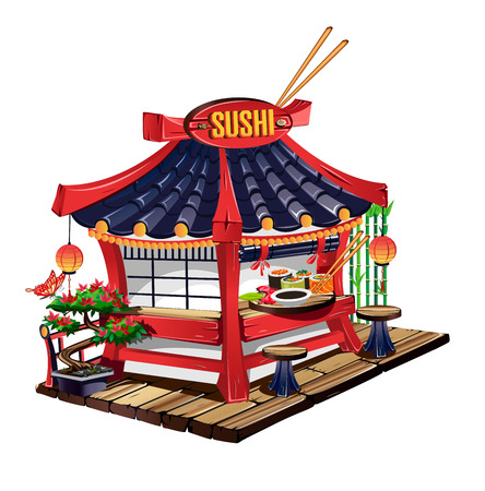 Sushi bar in cartoon style Illustration