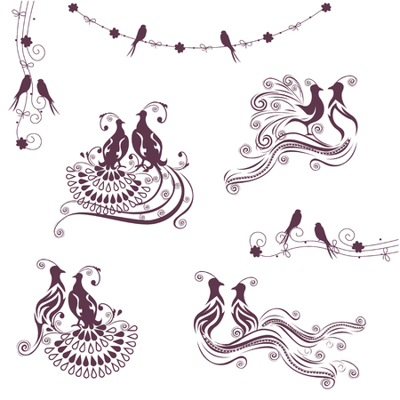 curlicues: Wedding birds set. Illustration