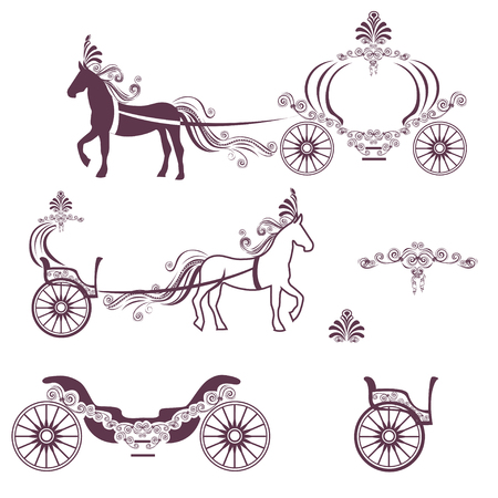 Horse with a carriage Illustration