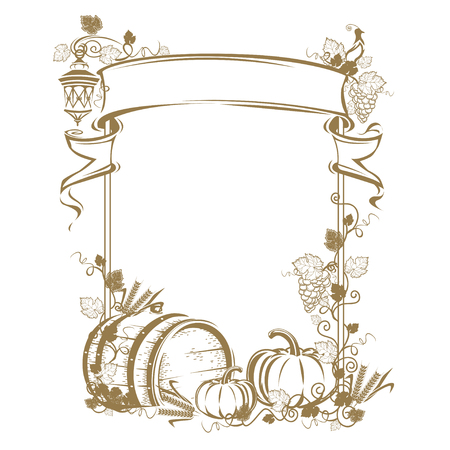 Harvesting Vintage frame Illustration