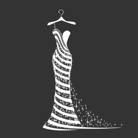vestido de la boda silueta Ilustración de vector