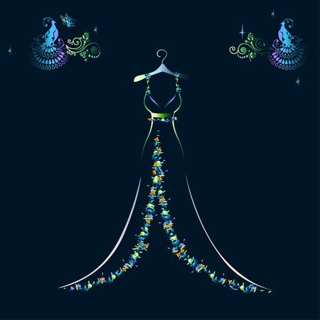 아름다운 빛나는 이브닝 드레스 실루엣