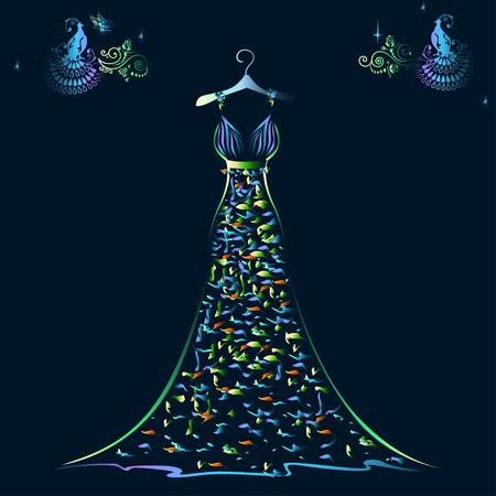 Beautiful shining evening dress silhouette Çizim