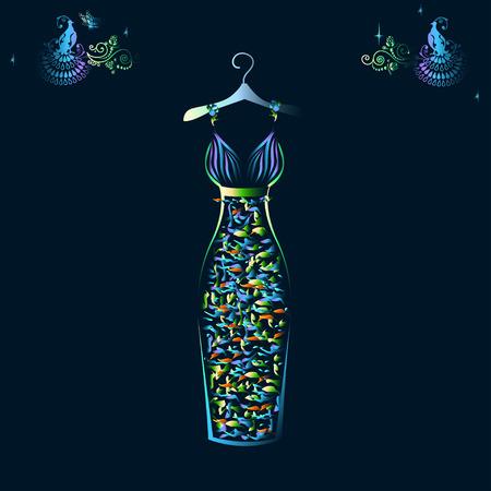 美しい輝くイブニング ドレス シルエット  イラスト・ベクター素材