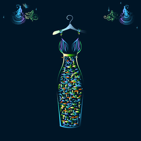 Beautiful shining evening dress silhouette Ilustração
