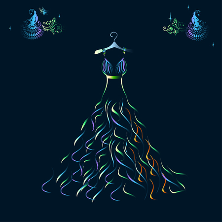 Beautiful shining evening dress silhouette Illustration