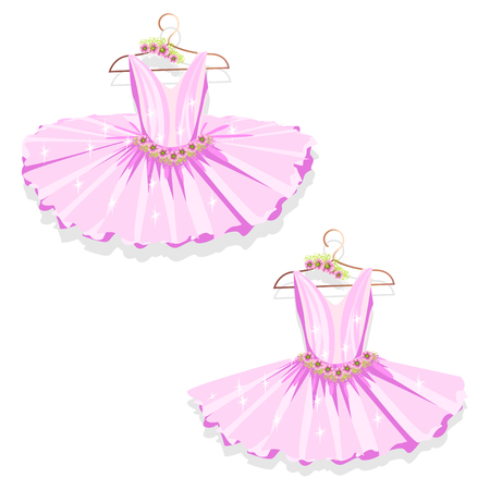 Pink tutu on the hanger. Illustration