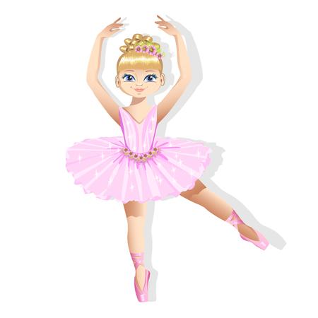 Zoete kleine ballerina in een glanzende jurk Stock Illustratie