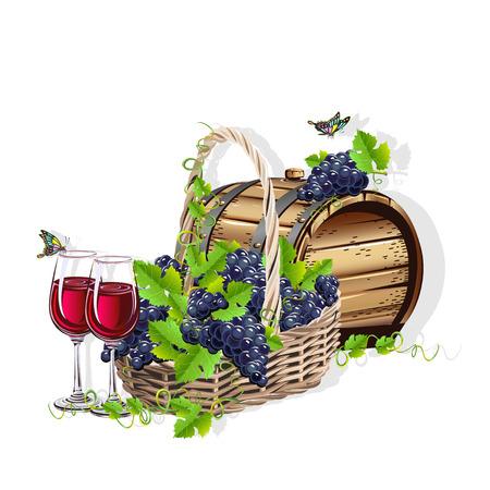 Wijn stilleven Stock Illustratie