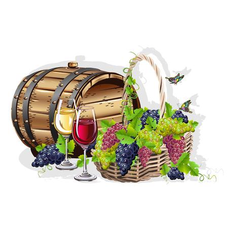 Bodegón de vino Ilustración de vector